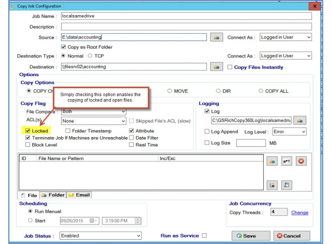 Copy open files and databases