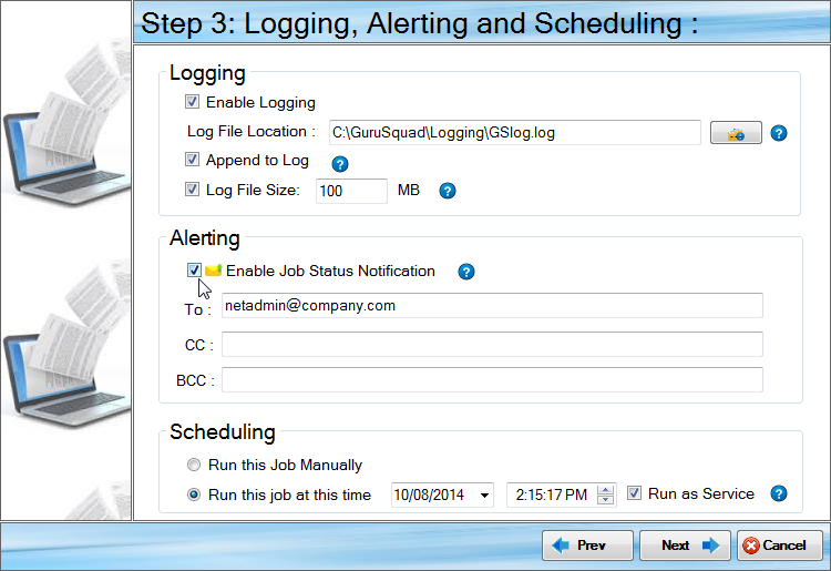 GS RichCopy 360 Logging and Email and Run As a Service
